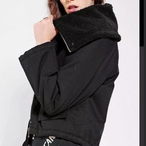 Unif x Urban Outfitters Black Sherpa Lined Jacket